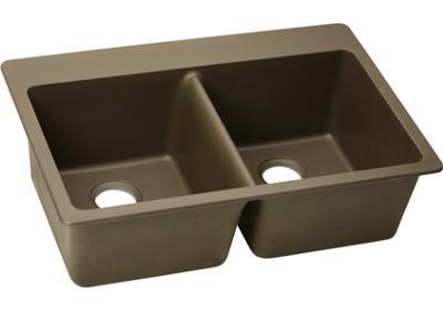 Elkay E-granite 33/22 double bowl w/ matching drain - Mocha