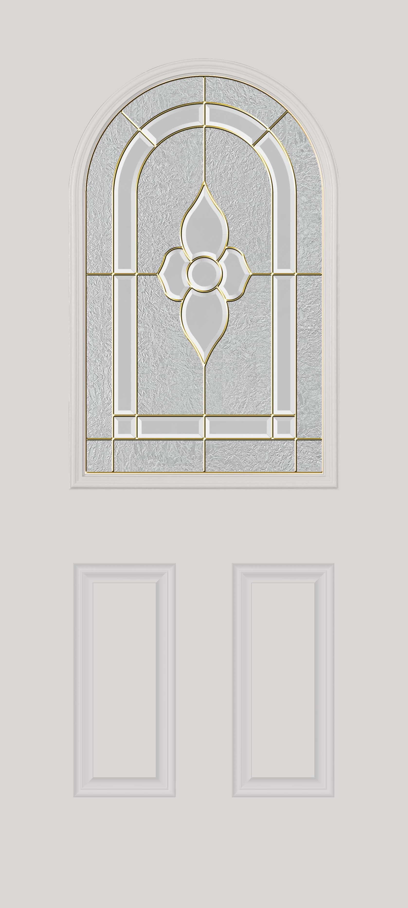 Half-glass door with round top Glass: decorative with nickel caming
