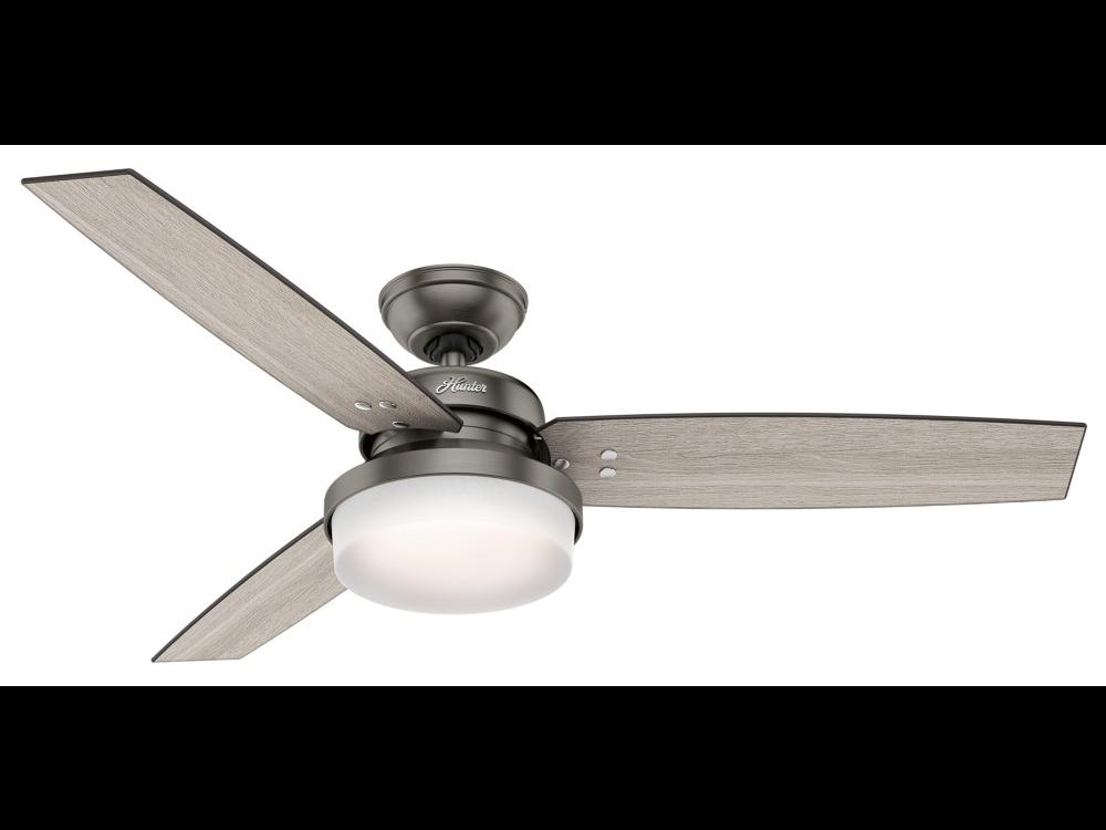 "Hunter ""Sentinal"" 52"" 3-Blade Ceiling Fan - Brushed Slate with Reversible Blades - Light Grey Oak / Grey Walnut (59211)"