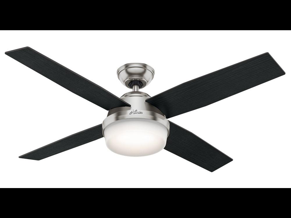 "Hunter ""Dempsey"" 52"" 4-Blade Ceiling Fan - Brushed Nickel with Reversible Blades - Black Oak / Chocolate Oak Grain (59216)"