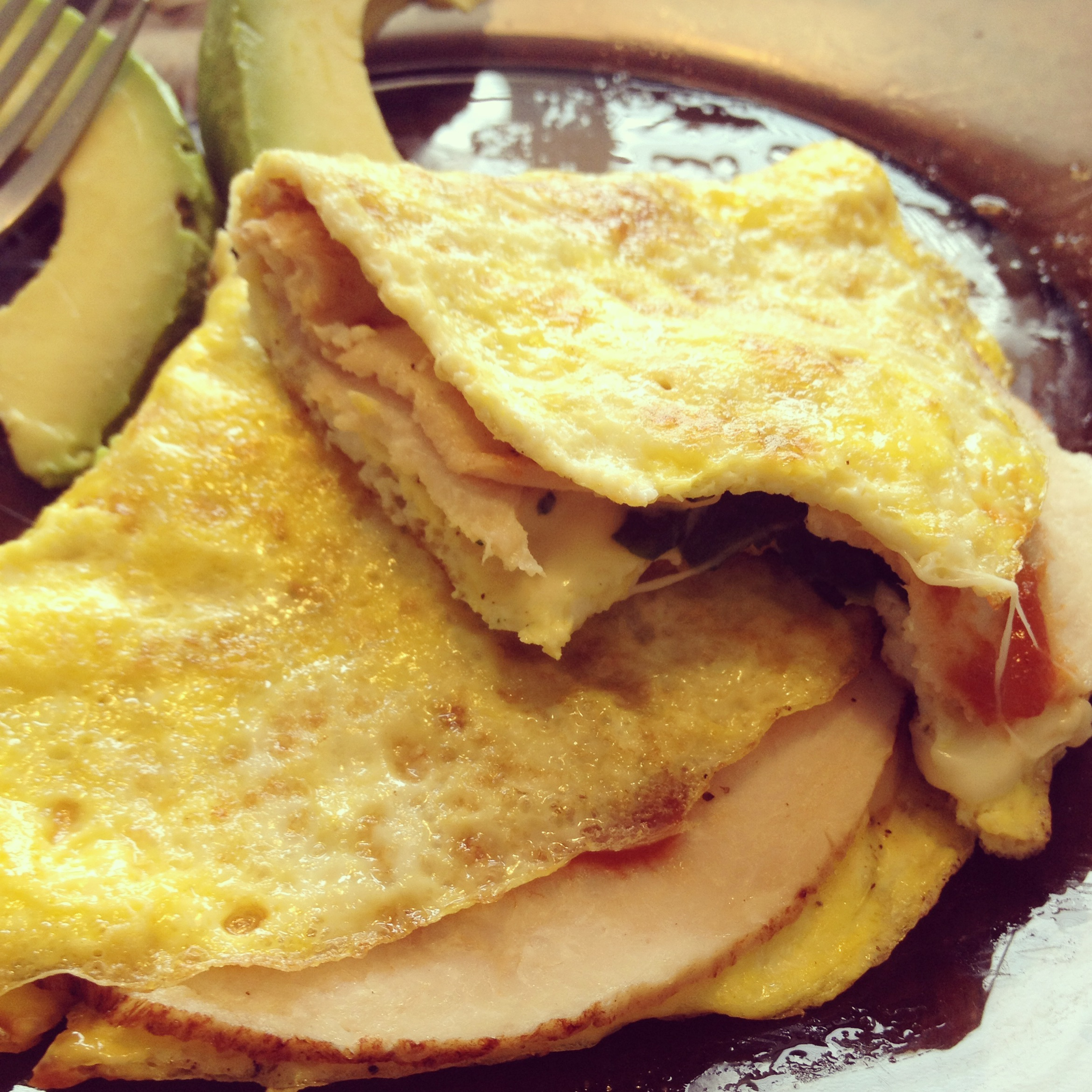 """panini with eggs as the """"bread"""" - get creative in the kitchen! eggs don't just need to be for breakfast ;)"""