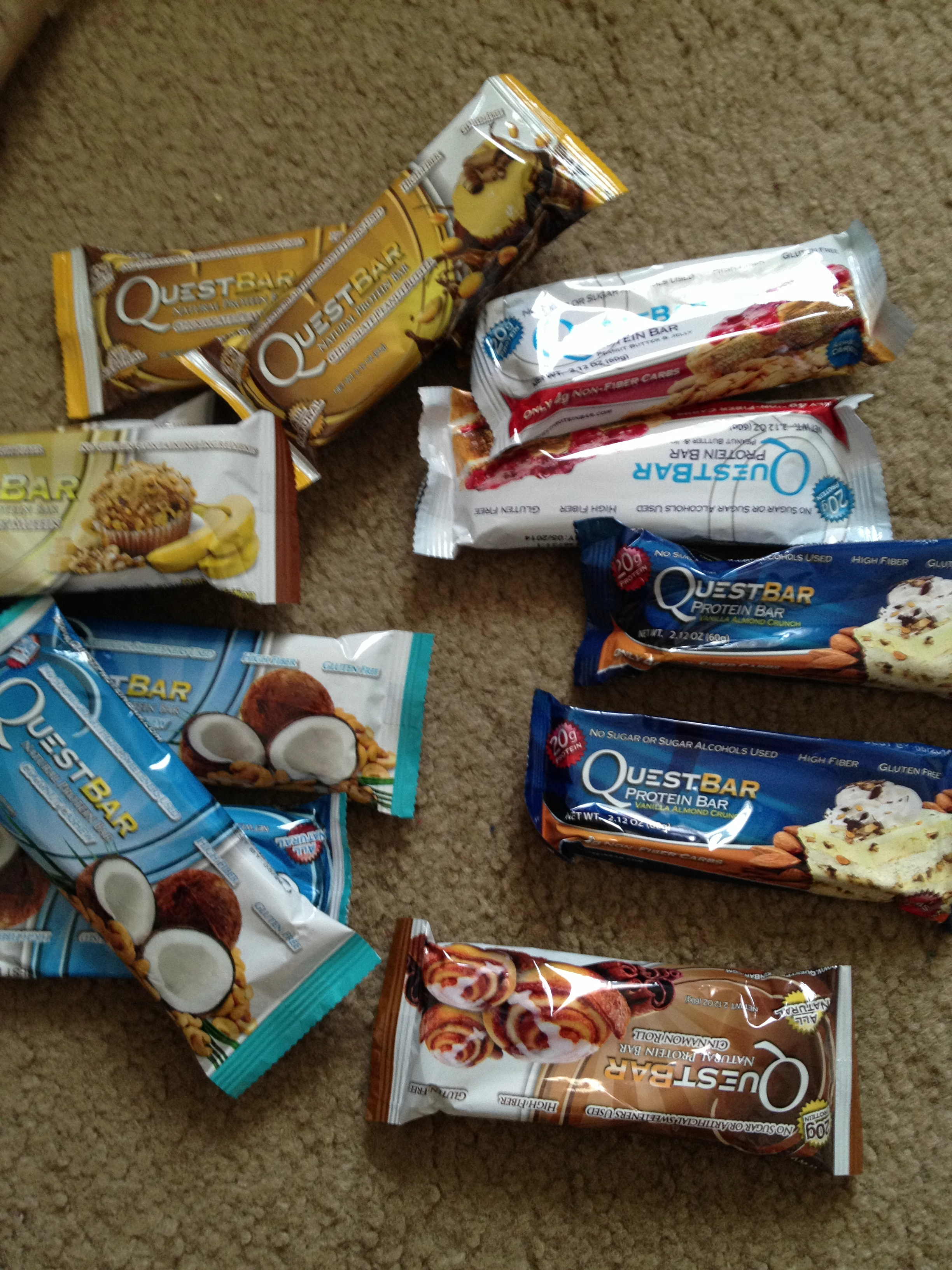 Quest Bars come in lots of flavors. They are super filling so Iusually save them fordrives home to Jersey when I don't want to stop to eat.