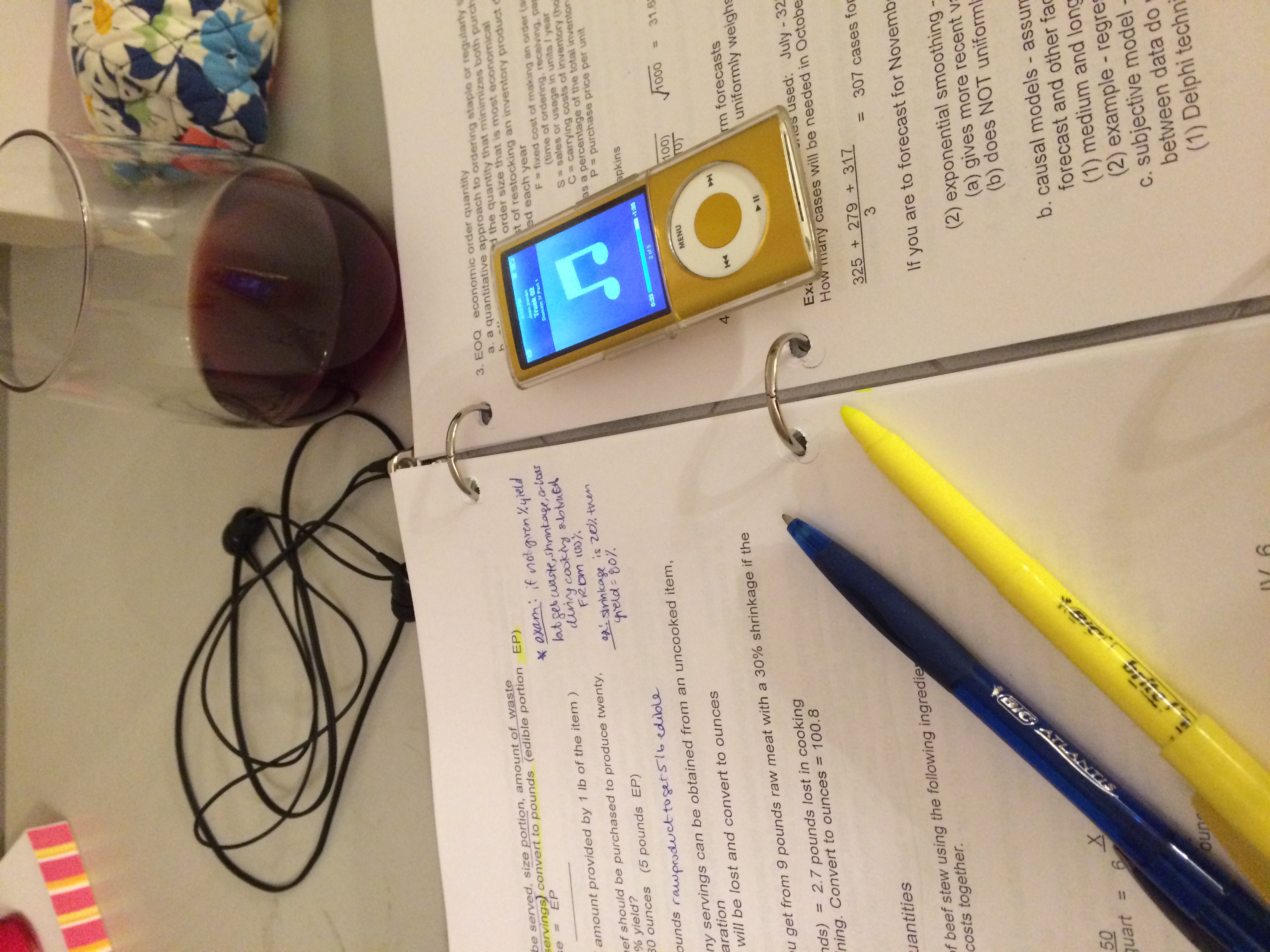a glass of red wine goes great with my study guide ;)