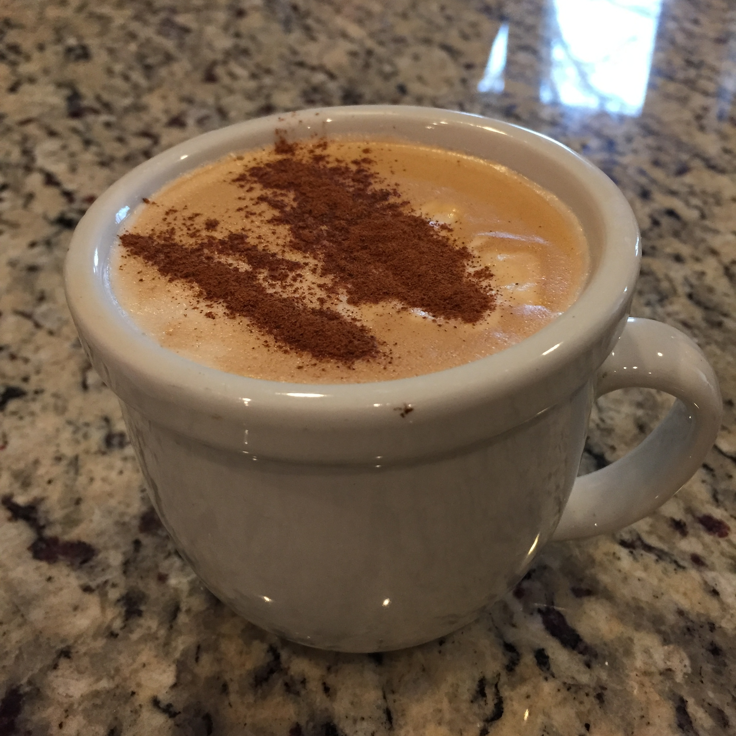 homemade latte at my aunt and uncle's- no sugar added!
