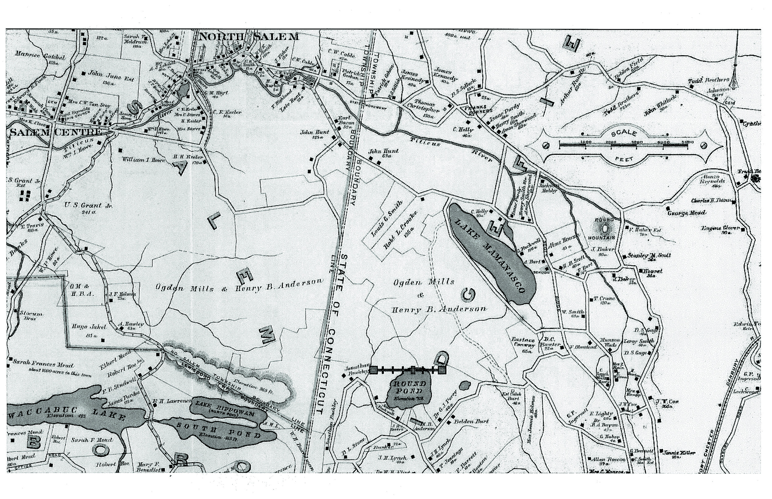 This map from a 1908 atlas shows the extent of the lands purchased in Ridgefield, CT and North Salem, NY by Henry B. Anderson and his partner, Ogden Mills, for the Port of Missing Men. ( Courtesy North Salem   Historical Society.