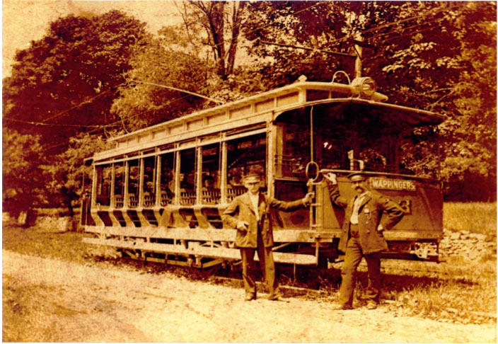 Typical trolley operated by the Poughkeepsie & Wappingers Falls Electric Railway Circa 1900. It had a capacity of about 50 riders and replaced the line's original equipment that could handle only about 20 riders. Courtesy Grinnell Public Library, Wappingers Falls, NY.