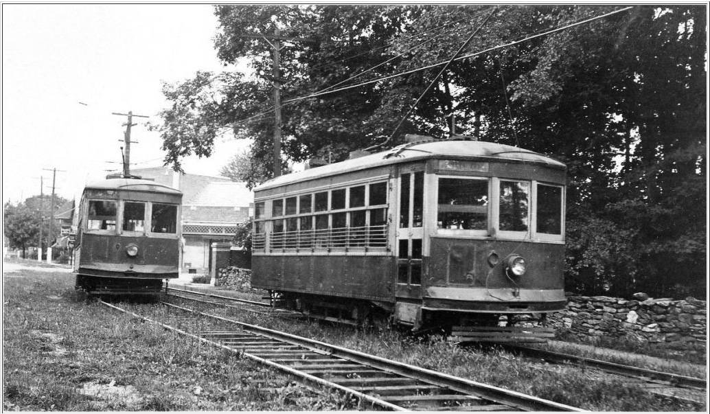Poughkeepsie & Wappingers Falls Electric Ry. Birney trolley passing No. 45 ( Courtesy Wappingers Historical Society)