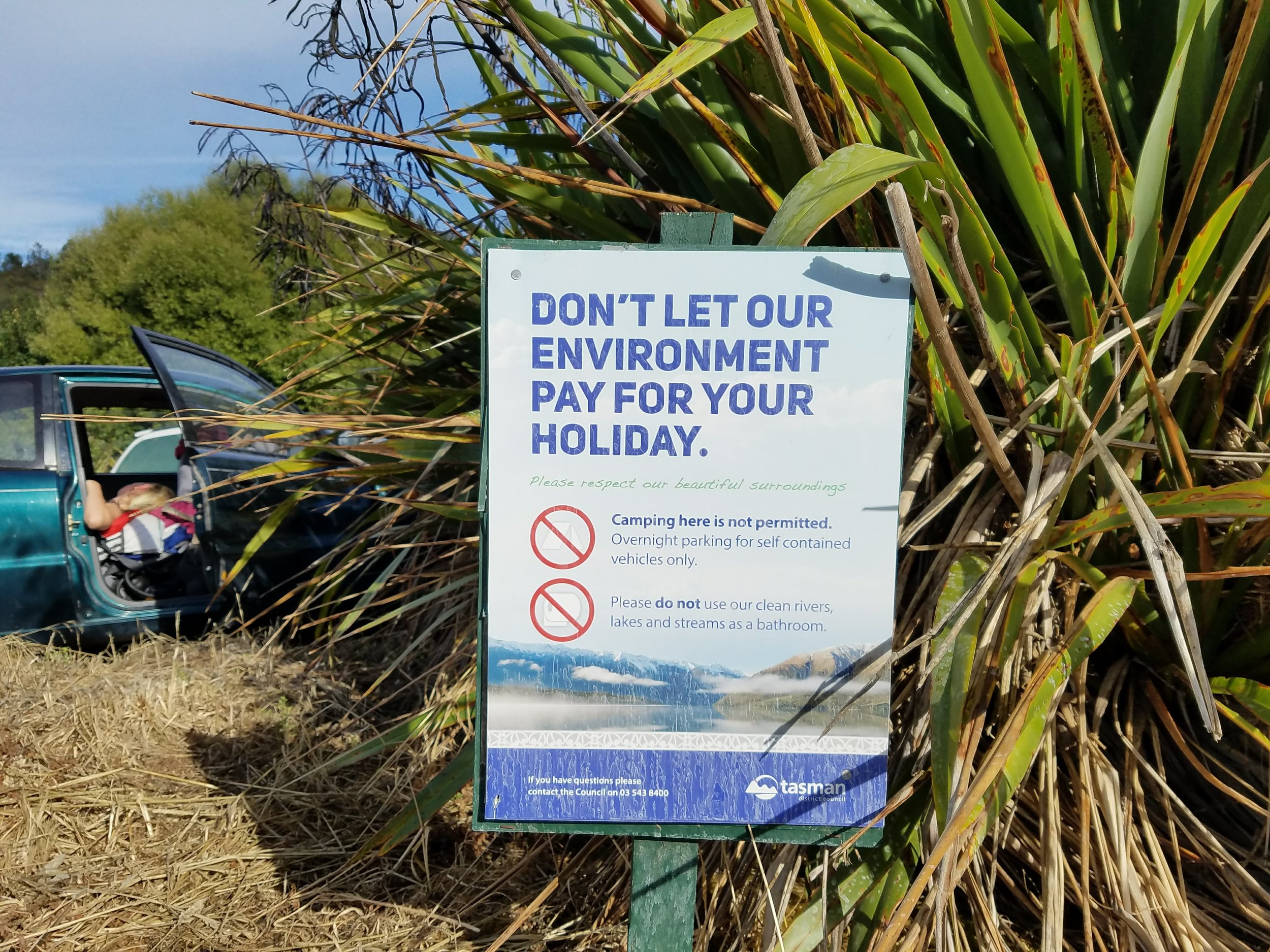 A sign we encountered at a New Zealand campsite.
