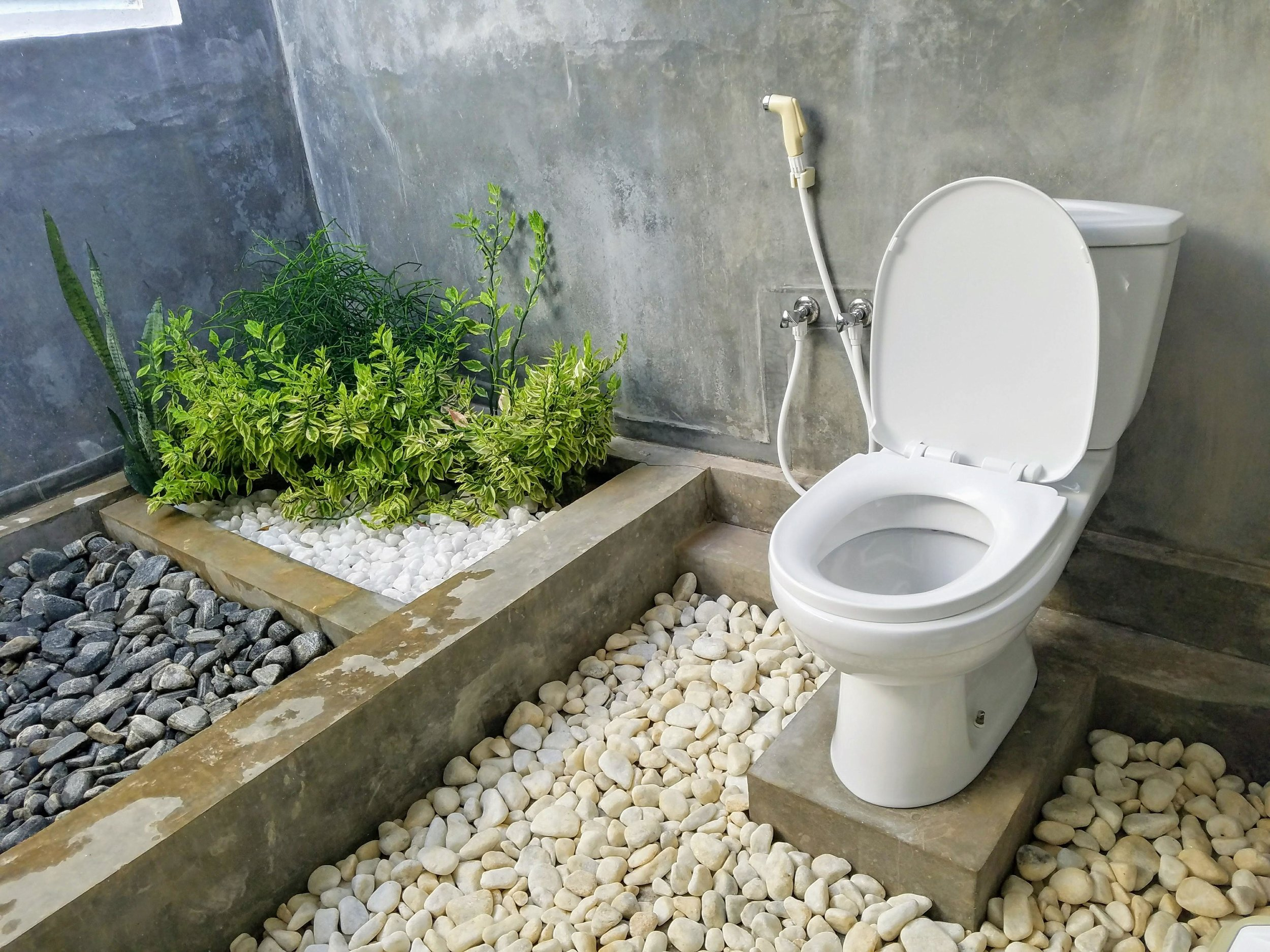 Seated flush toilet with a hose in Sri Lanka