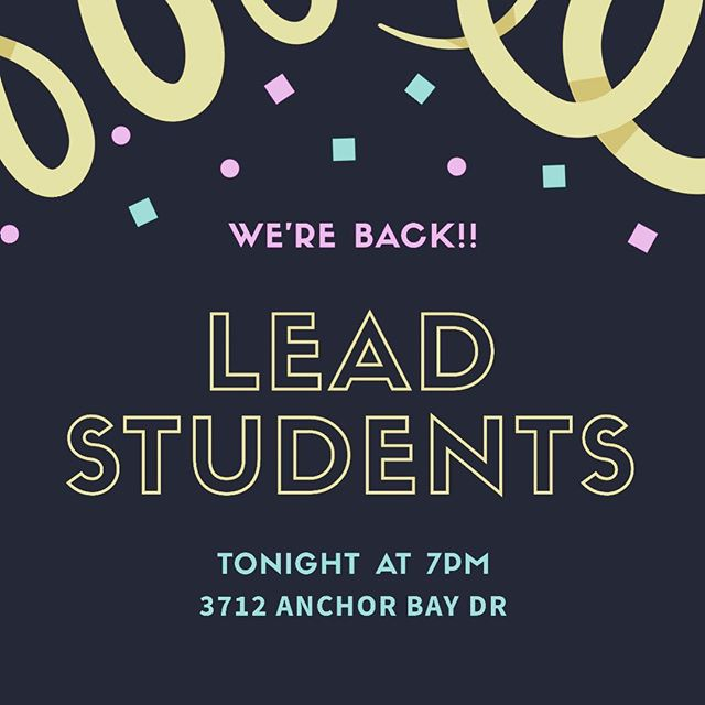 WE'RE BACK! We missed you all last week and are super excited to see you tonight! Come hang with us, same time same place. It's going to be so fun, so come ready to learn about God and have some fun! We can't wait to see you! 😊