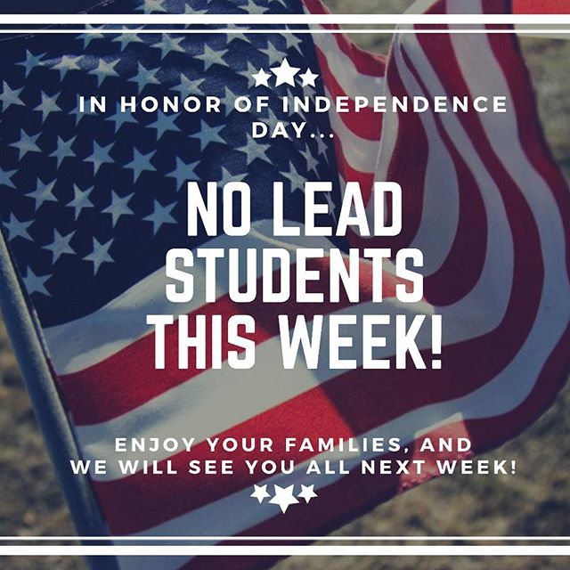 Hey y'all!! Just a reminder, we will NOT be meeting tomorrow, due to the fact that it's a holiday. Enjoy your families, have a fun and safe Independence Day, and we'll see you all NEXT WEEK!! 🇺🇸🇺🇸🇺🇸