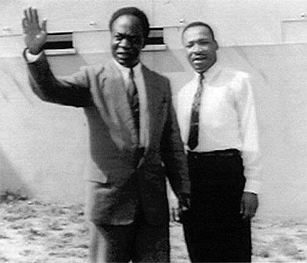 Prime Minister Kwame Nkrumah hosts Dr. Martin Luther King, Jr. in Ghana during the independence celebration, March 1957.