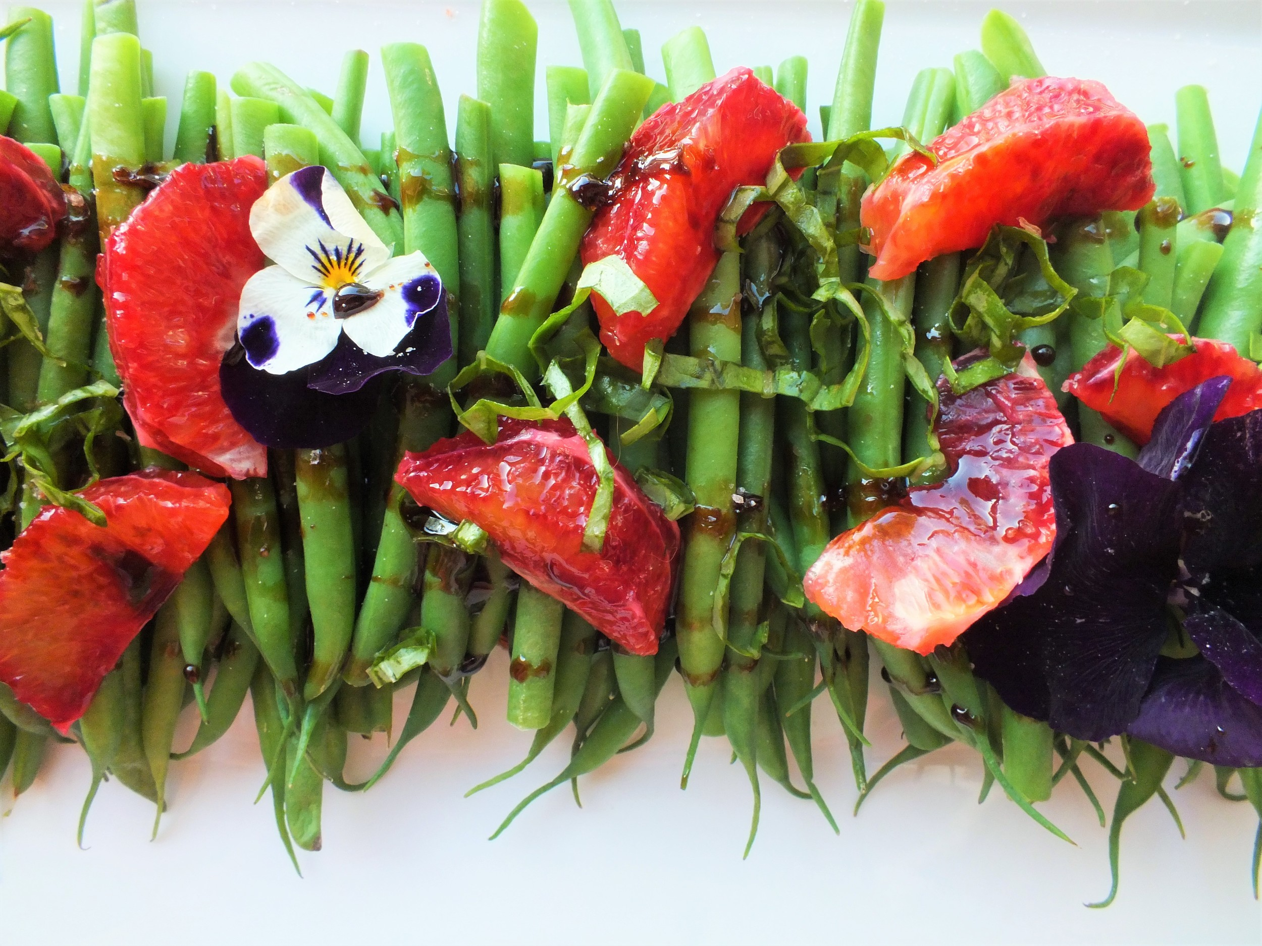 French Beans with Blood Orange Balsamic Drizzle