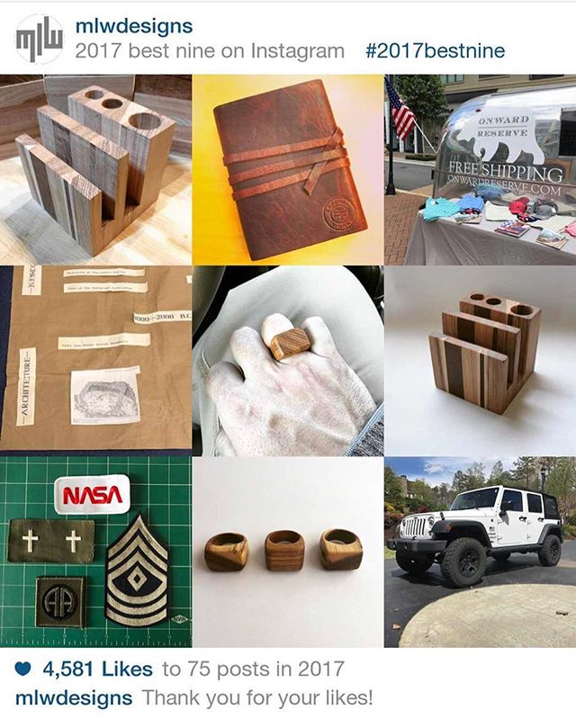 #2017bestnine - Thank you for following and liking during 2017!  A lot has happened over the past 8760 hours!  I look forward to seeing what #2018 has in store!  #jewelry #jewelrydesign #rings #bracelets #fashion #style #accessories #wood #woodworking #artist #design #designer #craftsman #maker #madeinusa  #handmade #gifts #artisan #westelmlocal #mywestelm #nasa #jeep #aev #onwardreserve #sfleatherworks #awesomealpharetta #avaloninsider