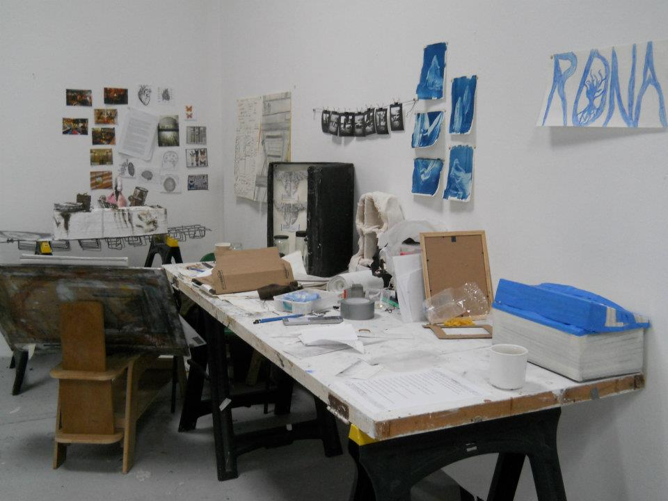 Rona's half of our first shared studio at the  Burren College of Art  in Ireland.