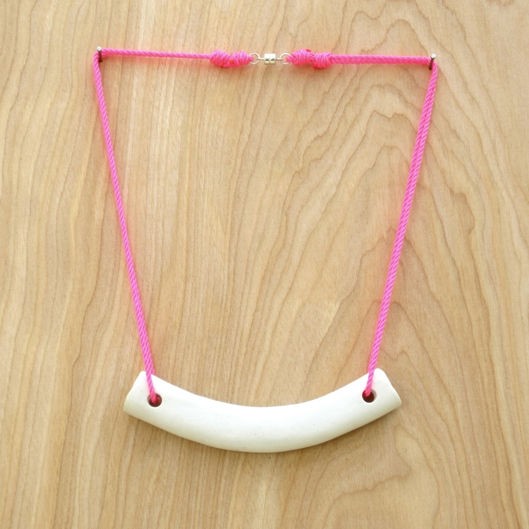 Curved Porcelain Tube Necklace