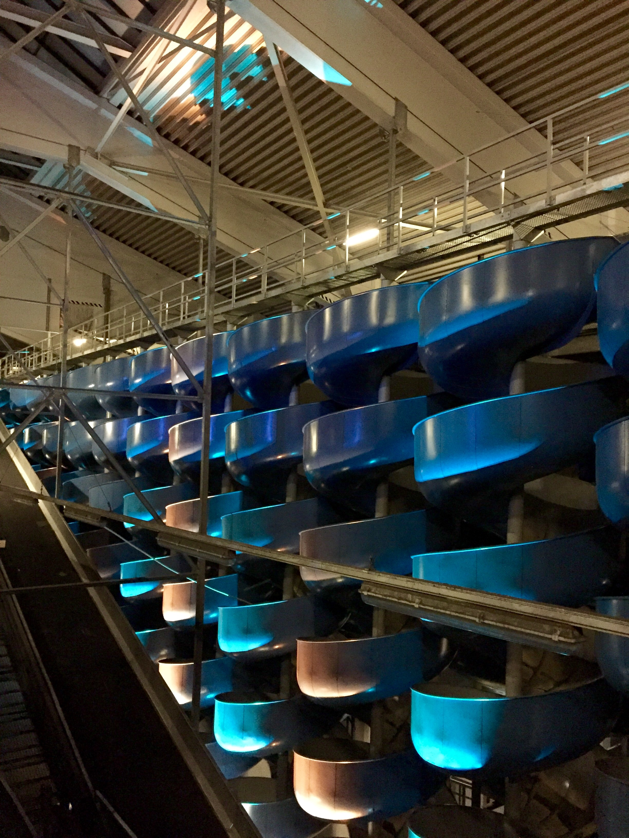Spiral Falls - old package chutes in the vast sprawling cement playground that is Post City, a main location for the Ars Electronica festival, in an old postal sorting and transportation warehouse near the main station. The picture is missing the sound installation of rumbling bass and various sonic materials tumbling down the chutes.