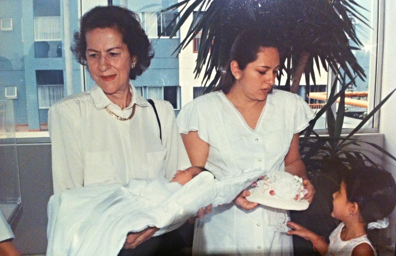Cali, Colombia.1998  My grandmotherNubia Hernandez, my mother Roselena Giraldo, and me at my sister Camila Vela Giraldo's baptism