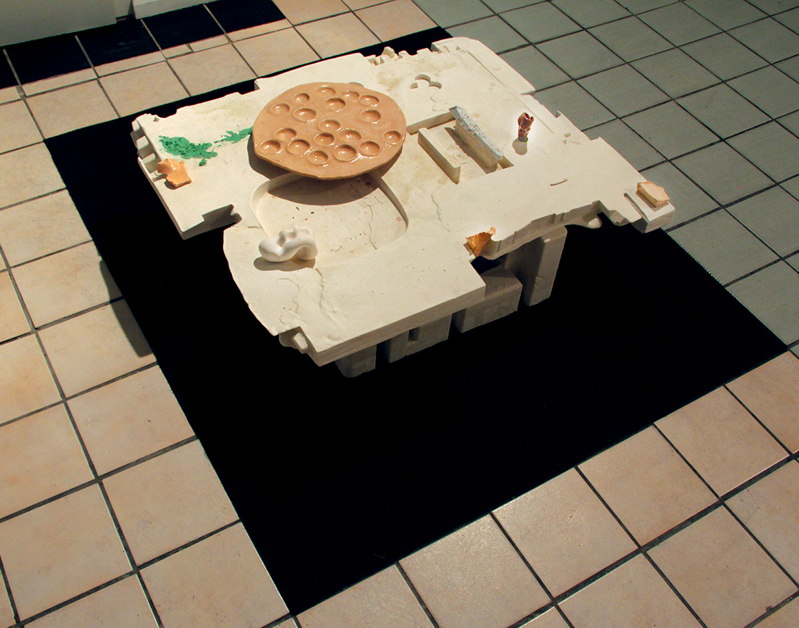 Swill & Platter Arrangement - 2015  0.4/ 1.3/ 1.2m, Plaster, Carpet, Ceramic, Silicone, Soap, Wishbone Justine Melford-Colegate