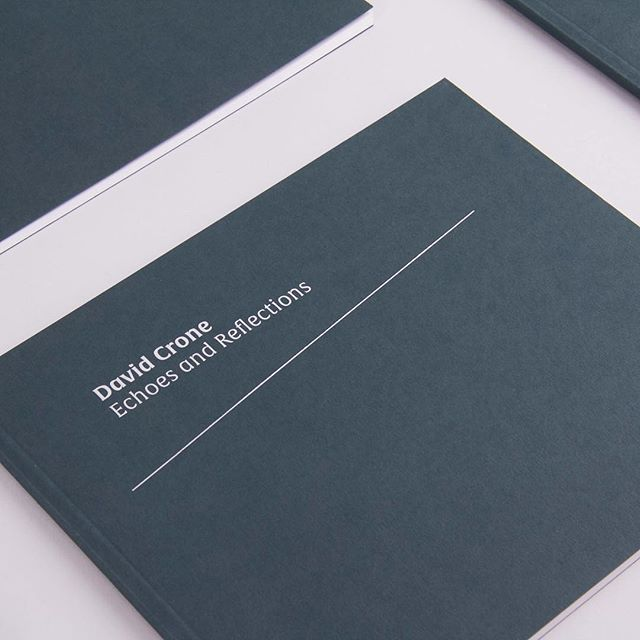 Photographing some projects for a website update coming shortly. - Sneak peek at our catalogue design for the David Crone Exhibition held in the F.E McWilliam Gallery earlier this year. - Silver hot foiled cover using @gfsmithpapers 350GSM Racing Green @colorplan_papers - #type #typography #design #graphic #graphicdesign #gfsmith #colorplan #minimalist #minimal #minimalism #vsco #vscocam #hotfoilstamping #hotfoil #hotfoiling #hotfoilprinting #book #print