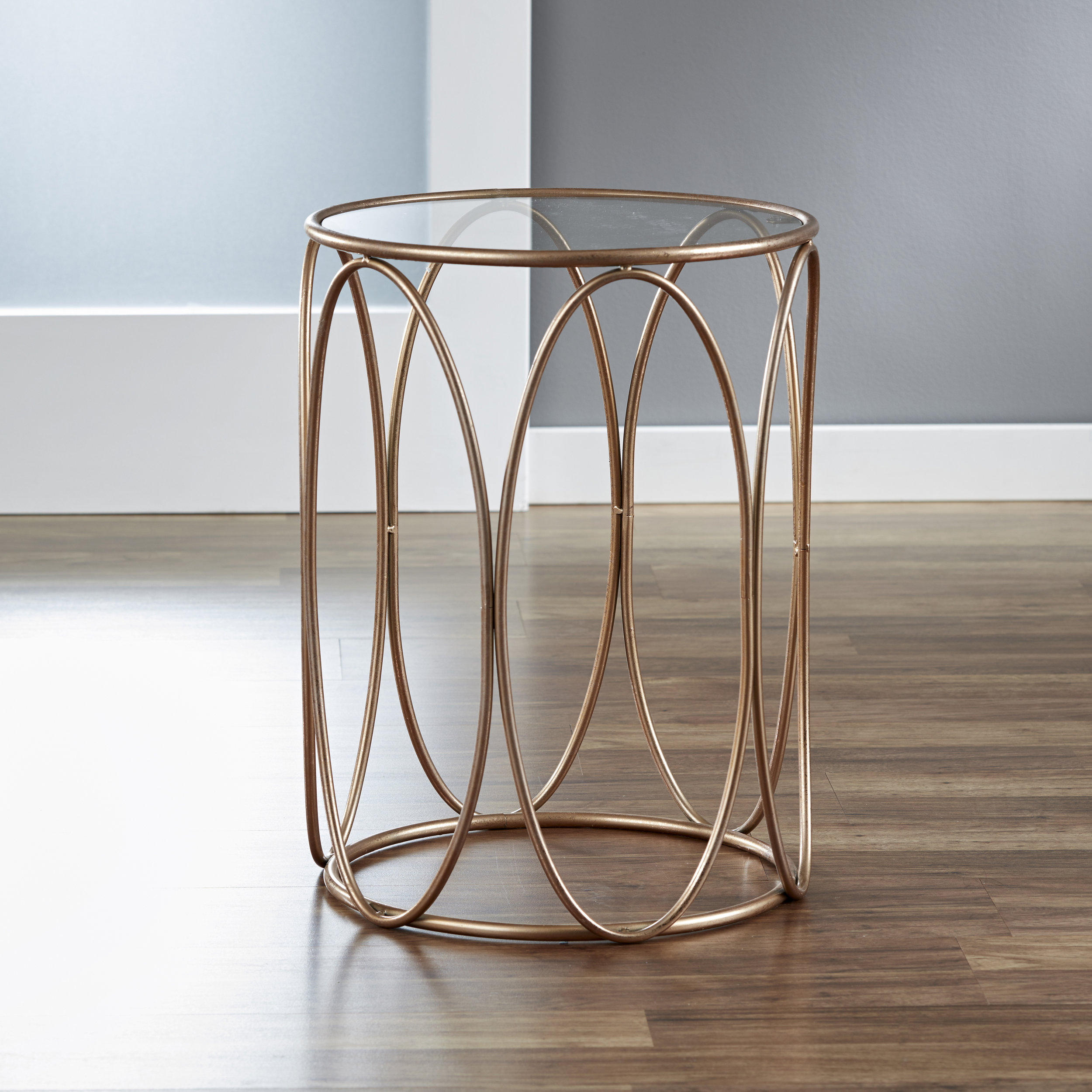 Oval Side Table with Glass Tabletop