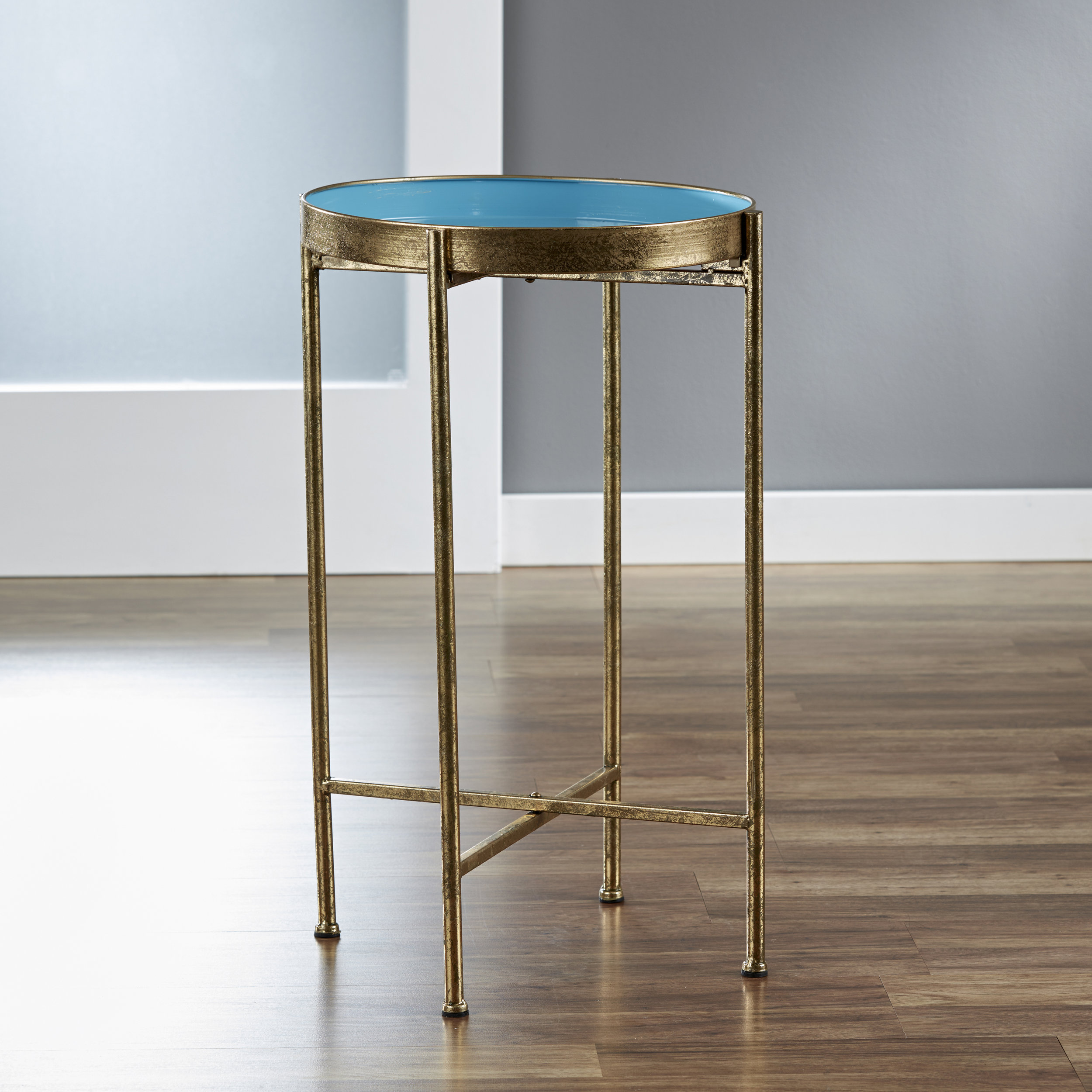 Small Gild Pop Up Tray Table in Blue