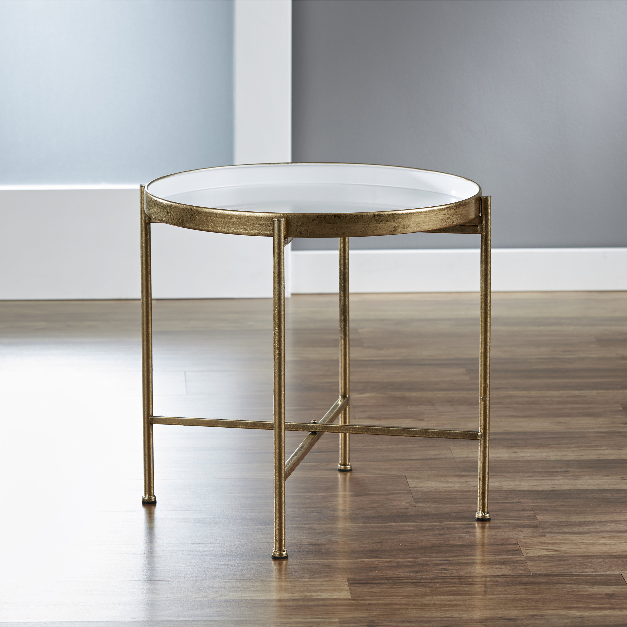 Large Gild Pop Up Tray Table in White