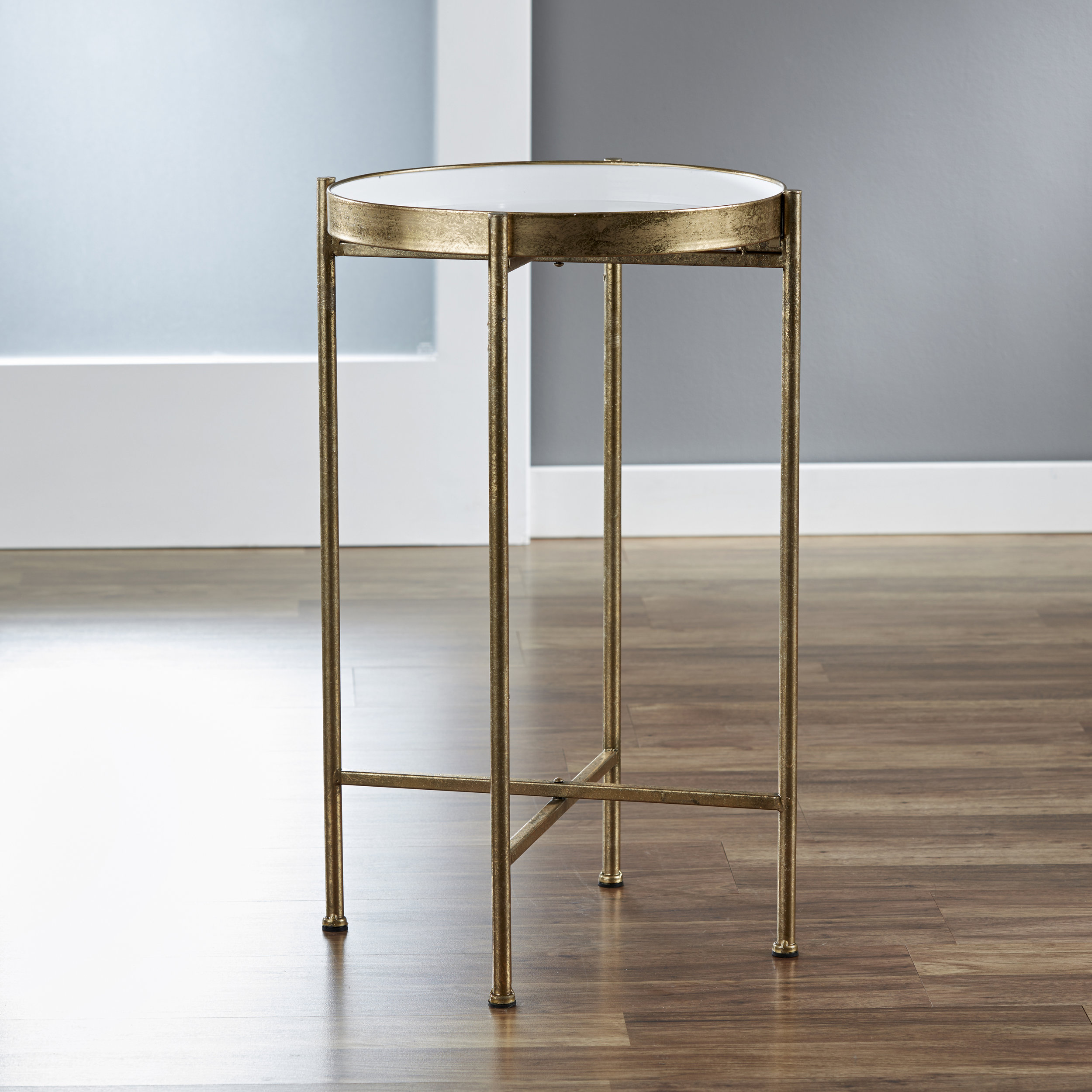 Small Gild Pop Up Tray Table in White