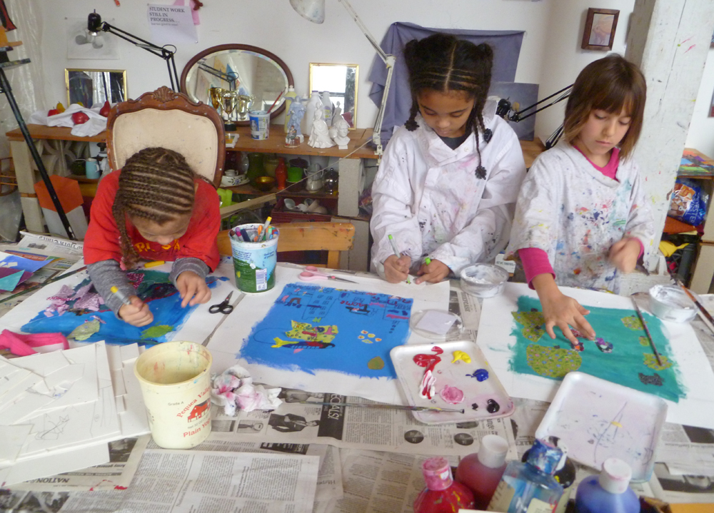 """You can see us painting and collaging our quilt squares, inspired by Faith Ringgold's """"Tar Beach 2"""" Quilt."""