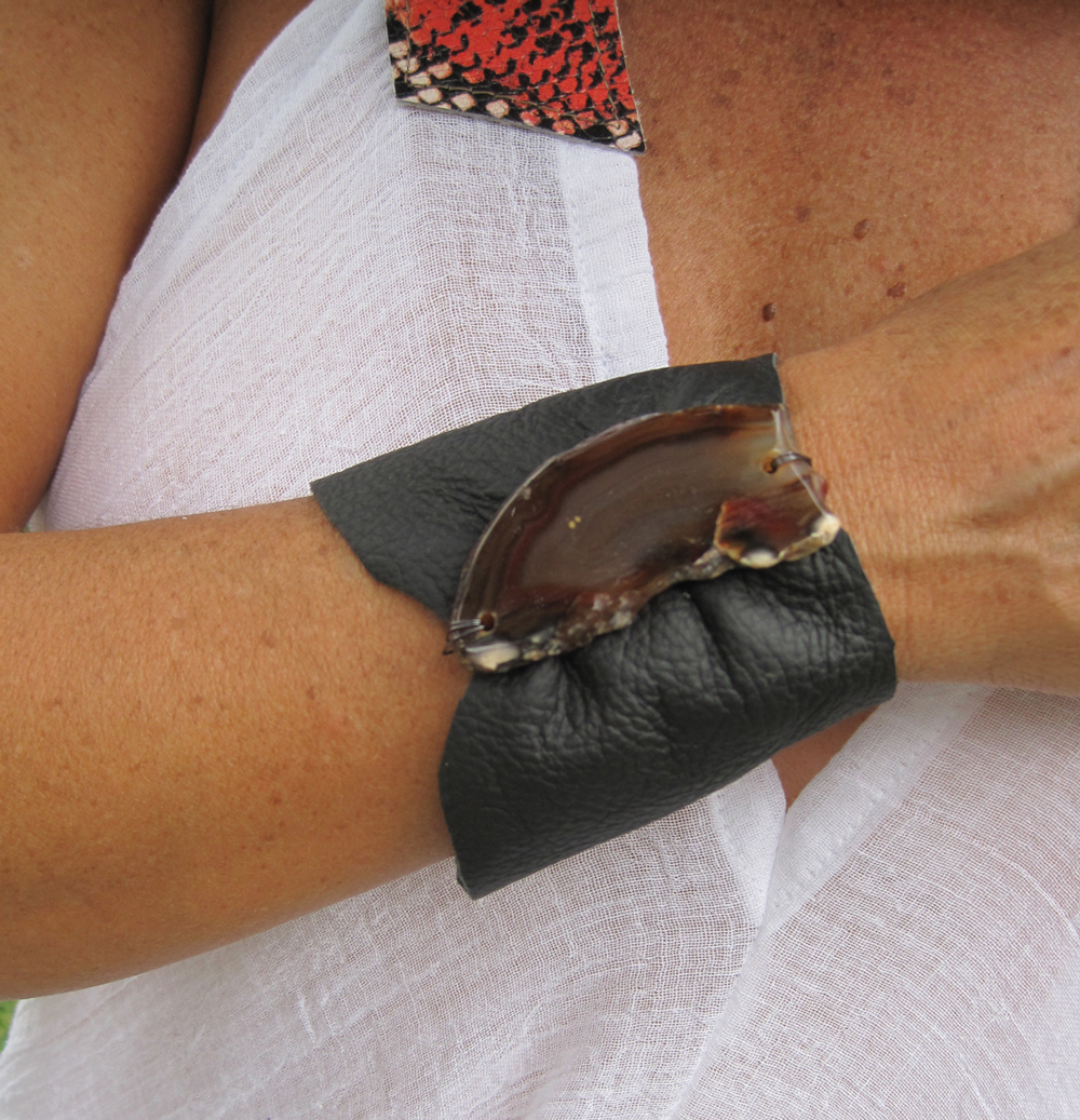 Black leather cuff with agate stone.
