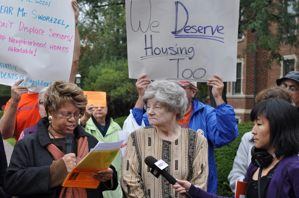 JASC leaders from Presbyterian Homes lead an action to save their affordable housing from being sold as market rate developments