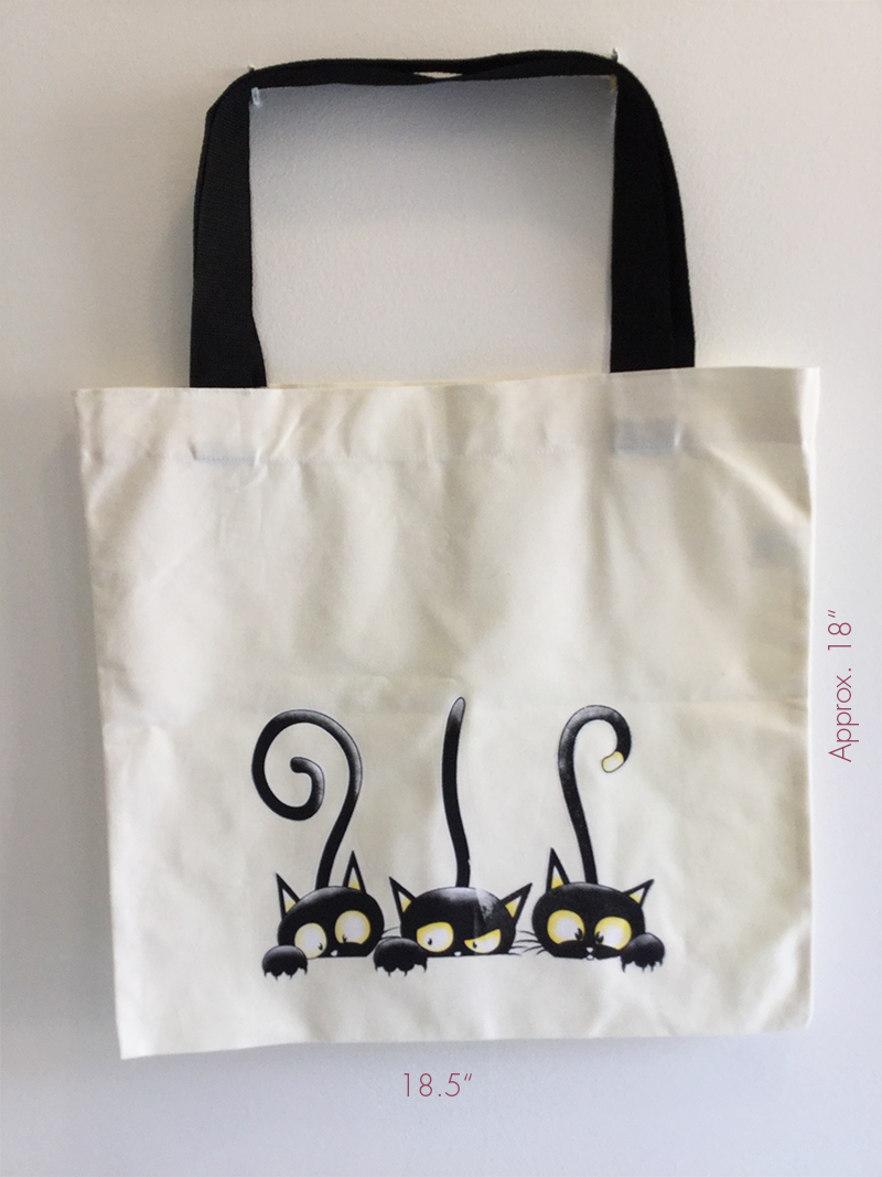 hand made Cat large tote bag shopping bag