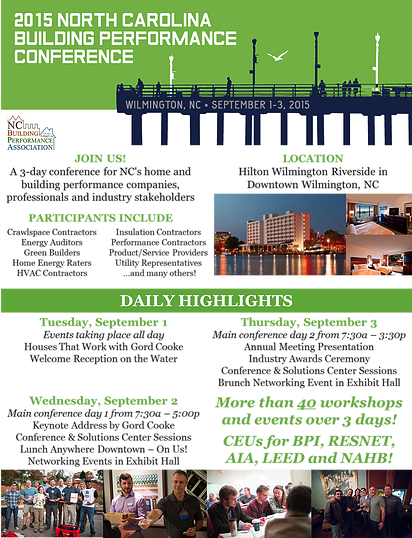 NC Building Performance Conference Schedule