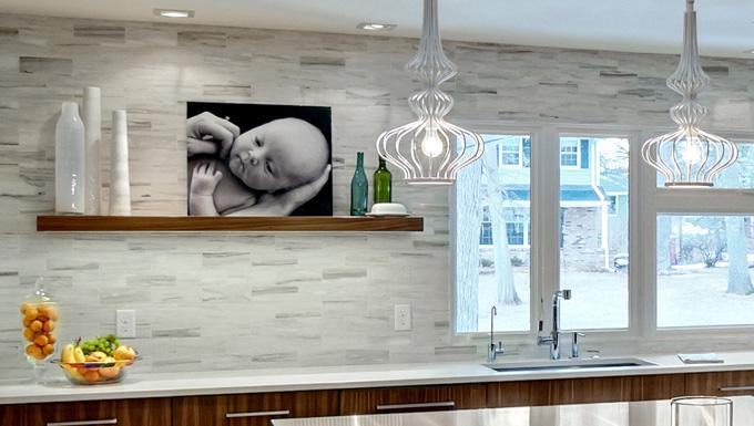 Classic Carrara tile backsplash