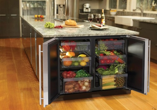 Refrigerator drawers concealed in island