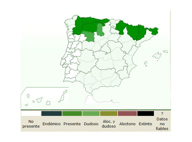 Mapa de la distribución  del  trifolium alpinum   FUENTE:  www.floravascular.com