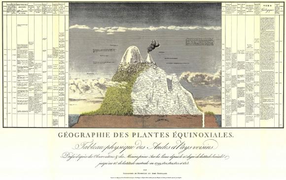 Naturgemälde de 90x60 cm que Humboldt incluyó en su  Ensayo sobre la Geografía de las Plantas