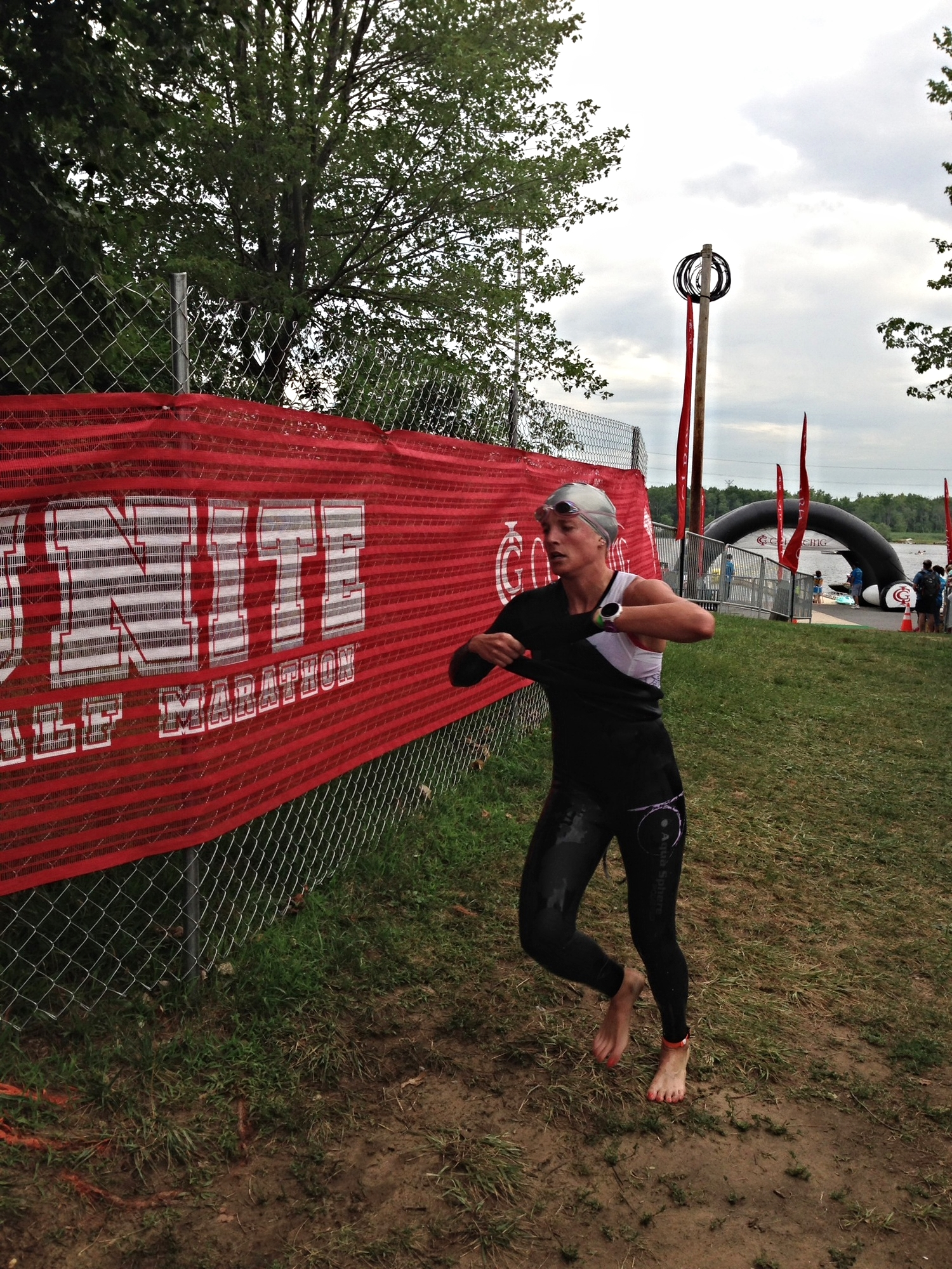 Out of the water with an Olympic Distance Swim personal best of 23:06.