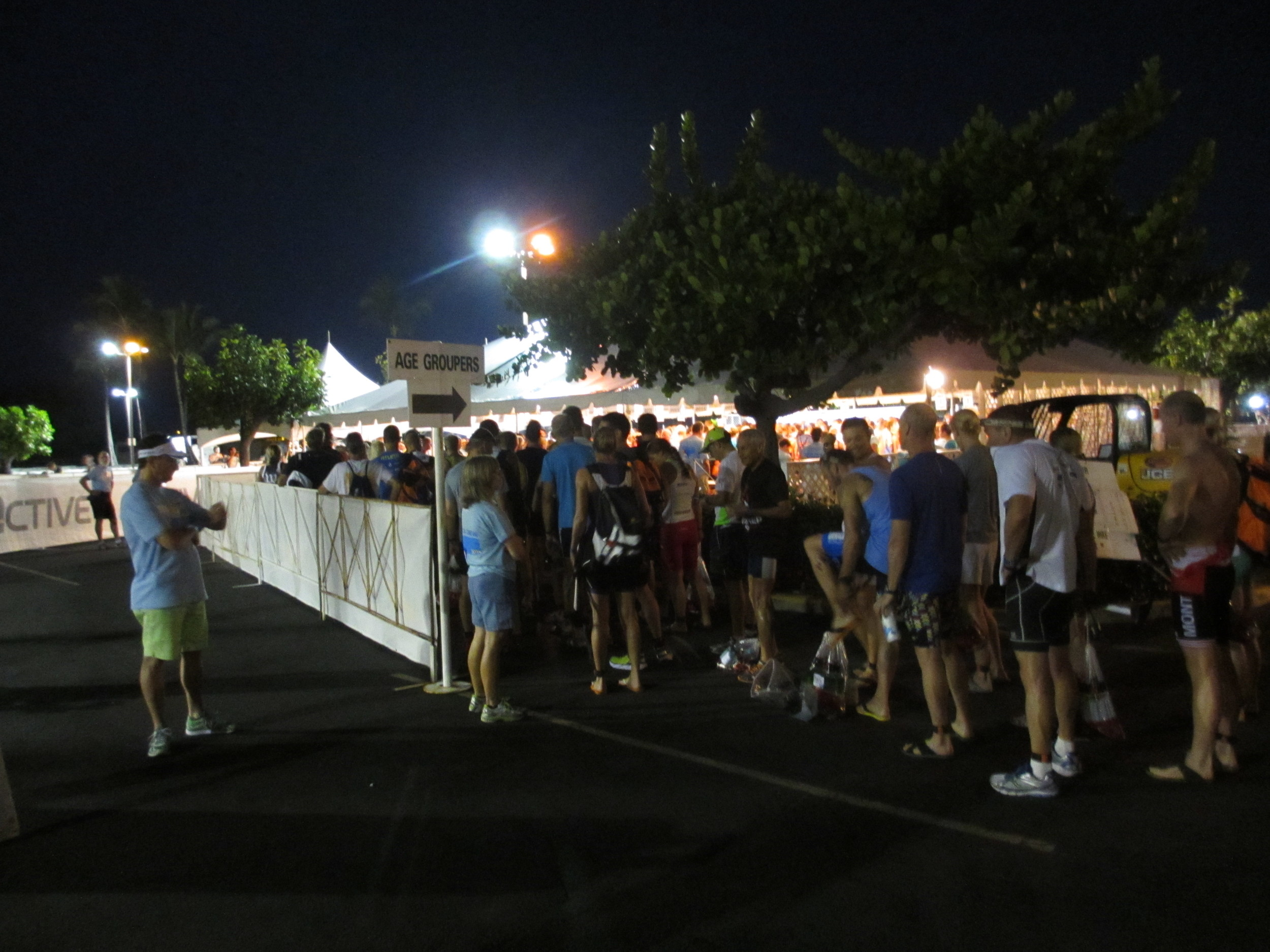 Age groupers lining up for body marking.