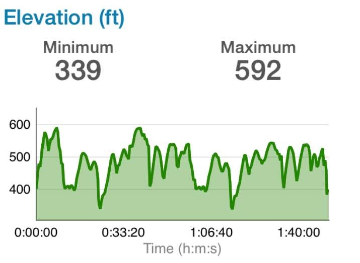 No crazy hills, but roughly 2000ft of climbing. Looks like there was hardly a flat section of the course.