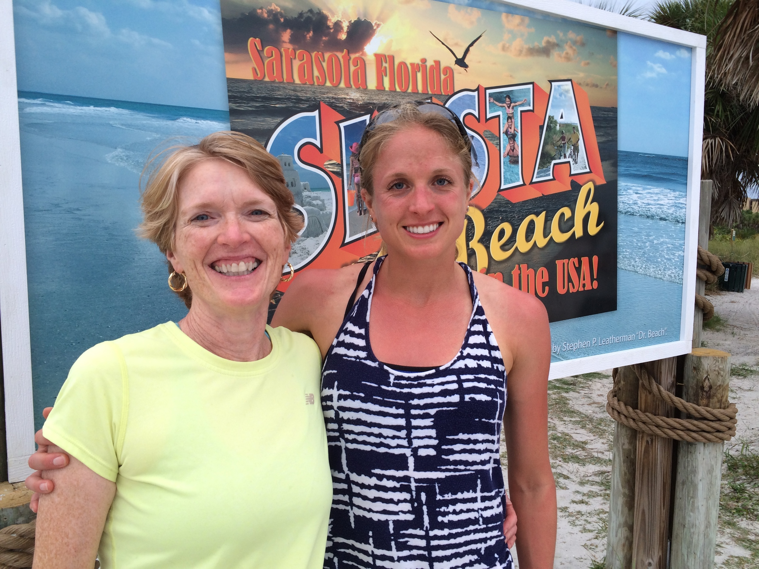 Mom and I taking a detour to Siesta Key Beach.