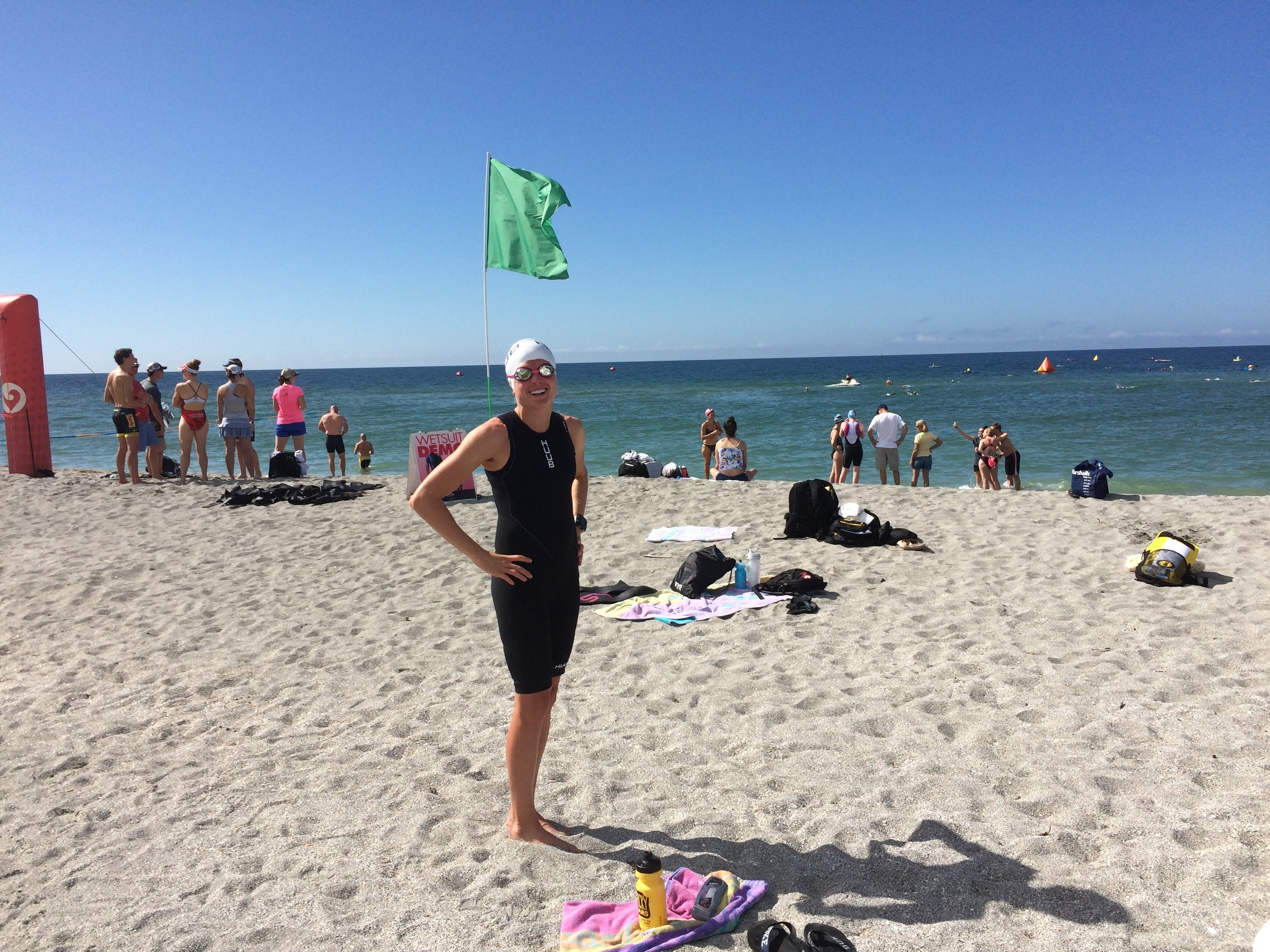Checking out the swim course in my new  Huub  swim skin.