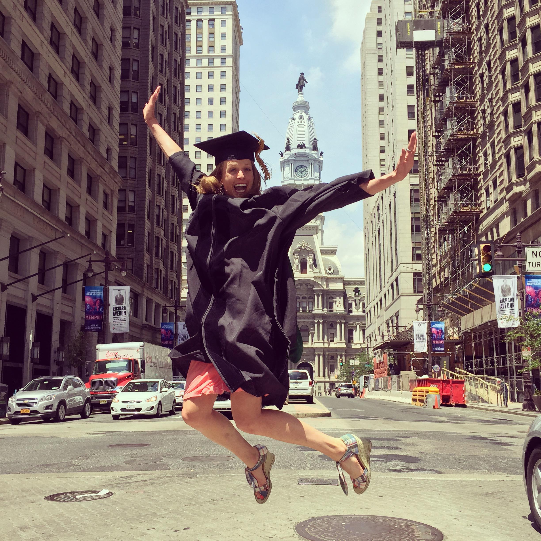 Dr. Emily Sherrard, jumping for joy.