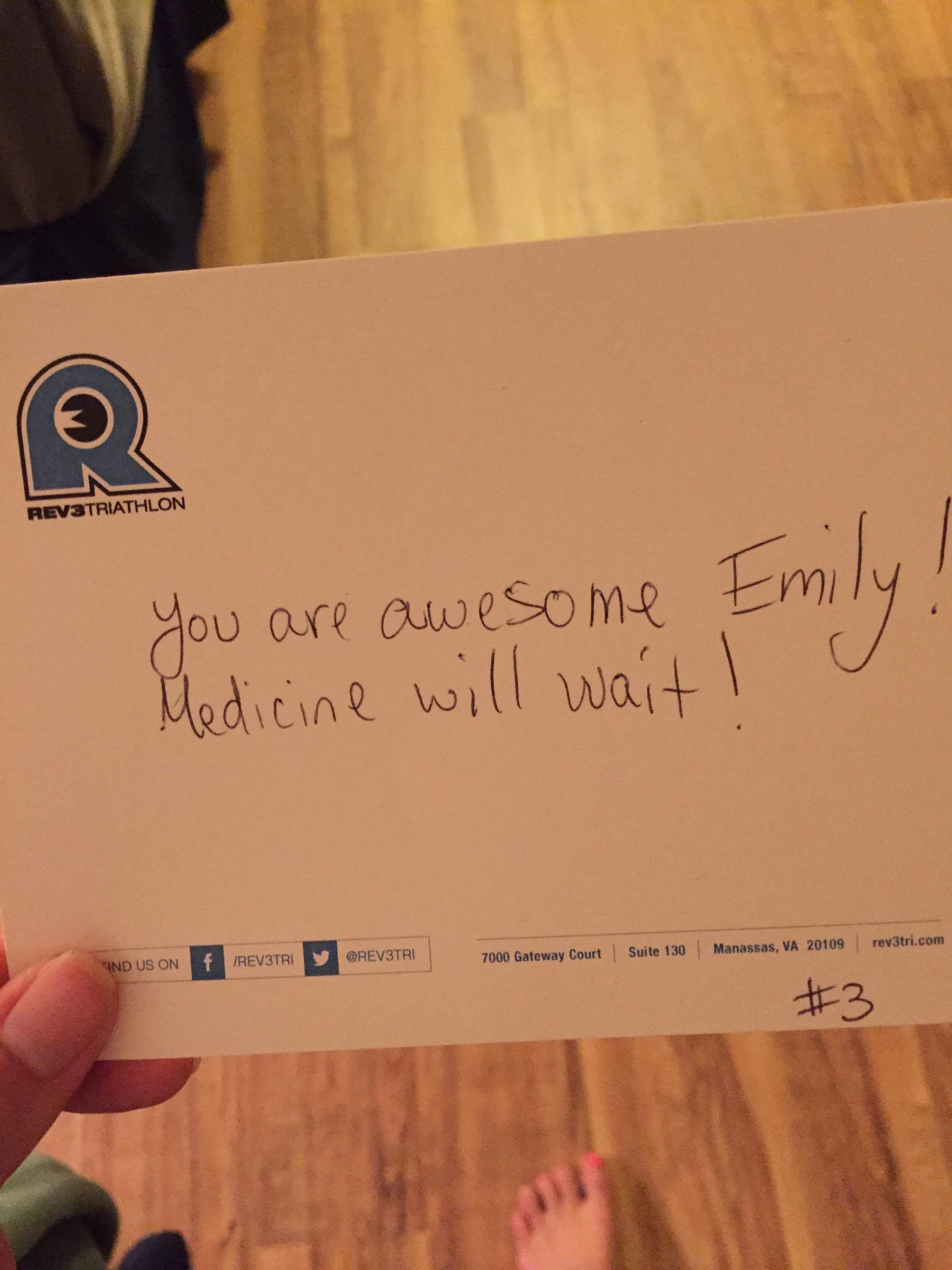 The note just melted my heart and lifted my spirits. Thank you  Rev3 Triathlon.