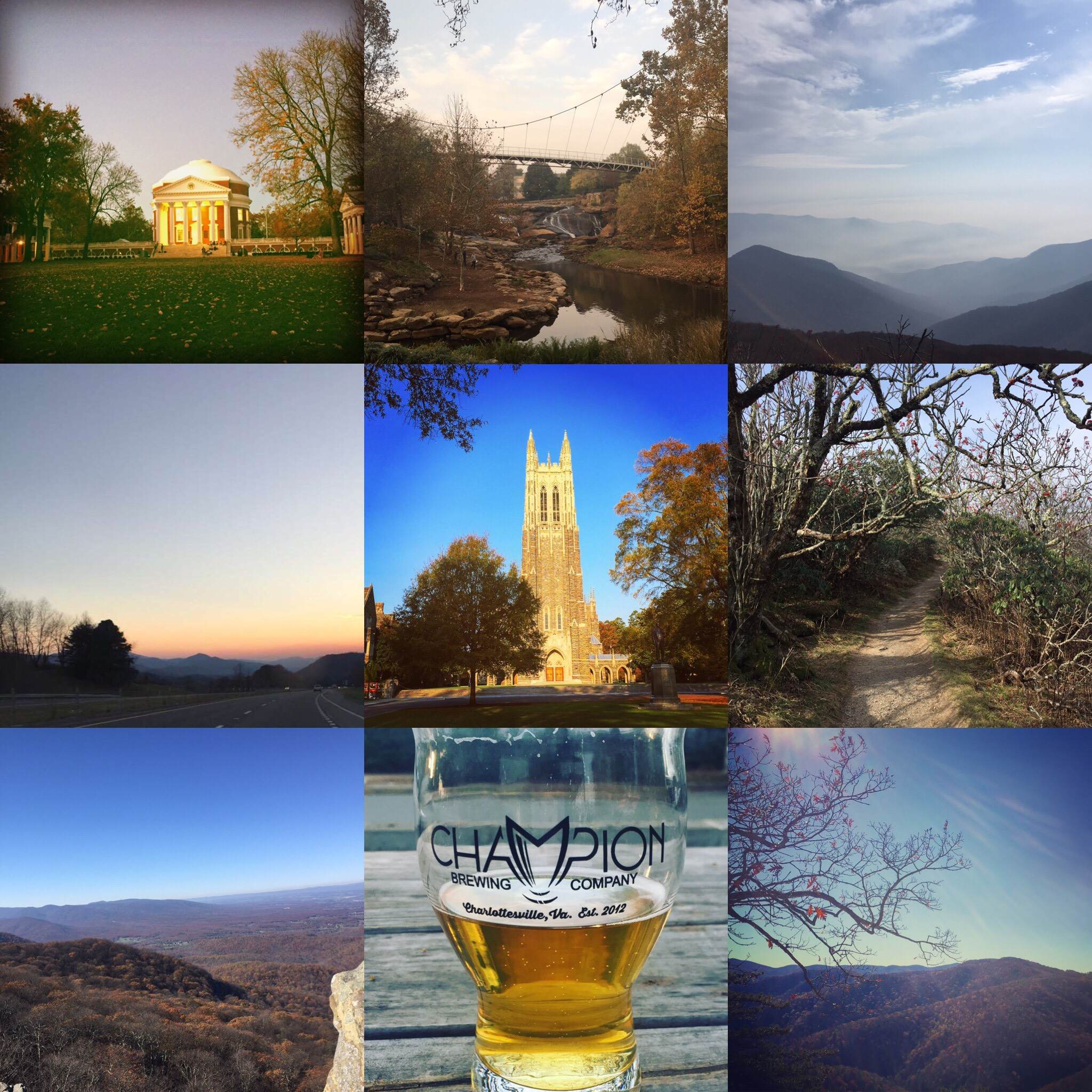 Scenes from the interview trail in VA, NC, and SC.