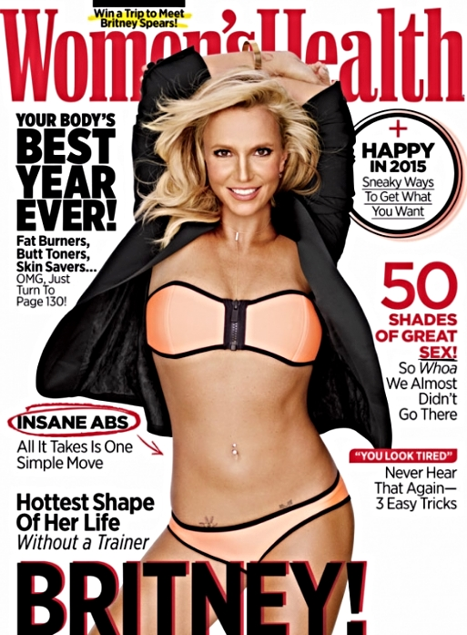 The cover that sparked a lot of talk about Britney's face, many feeling that her nose has changed. I don't know how anyone could focus on her face with abs like that!