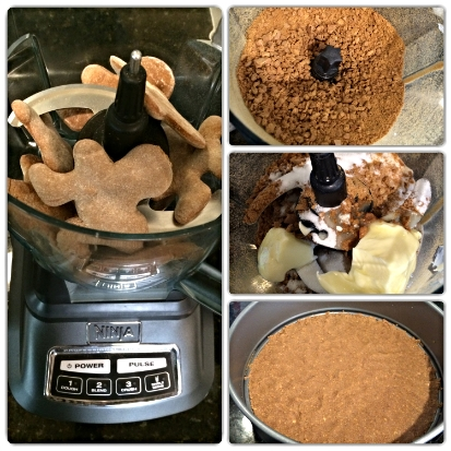 Using my Ninja Blender, I tossed several cookies in at a time. When crushed, I added the sugar and butter. Bottom right is the finished crust pressed to the bottom of my pan.