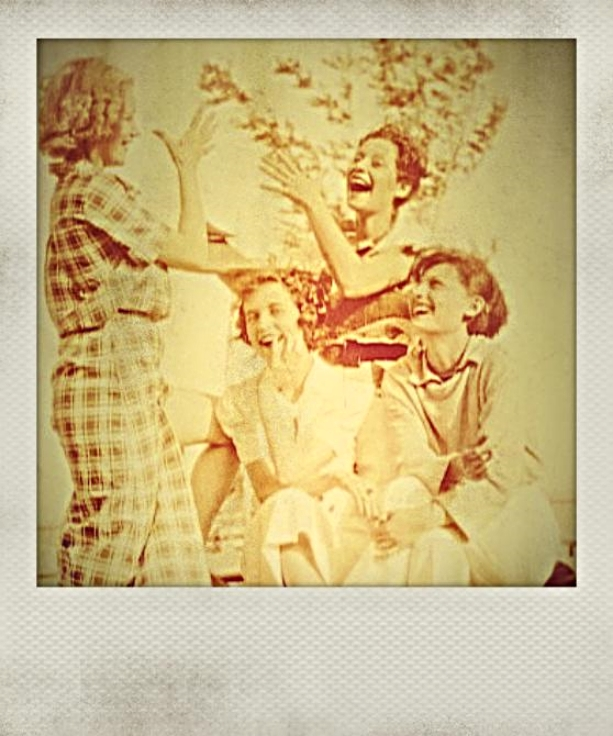 I love this photo of happy girls. The beauty in the middle, looking straight at the camera, is my Grandma Ruthie.