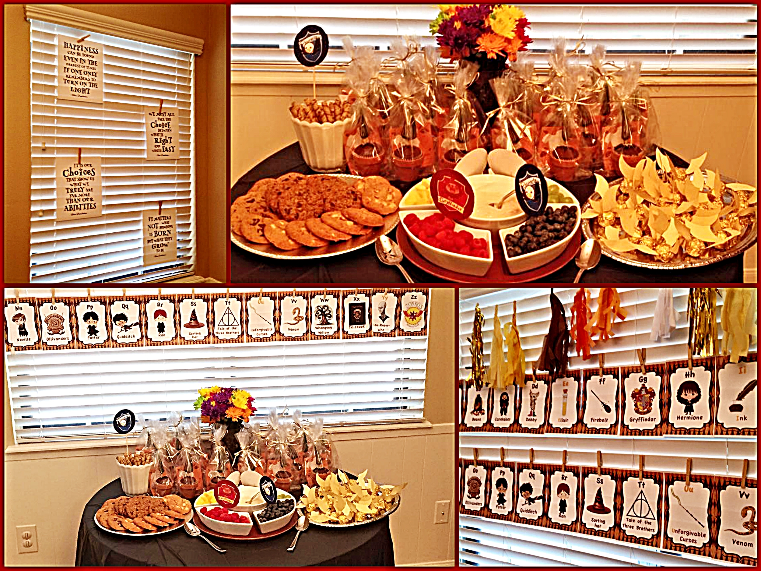 """Not only was the decor around the house-specific treats beyond cute, but they can be used again as nursery decor and alphabet flashcards. Never you mind that my son will learn """"Q"""" is for Quidditch..."""
