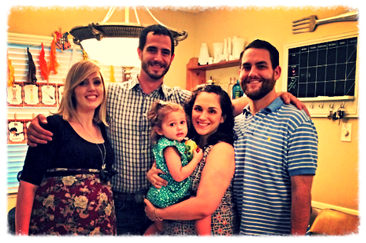 The Hubby and I with our hosts, The Wise Family, minus one little peanut.